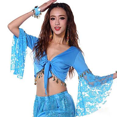 Dança do Ventre Blusas Mulheres Espetáculo Algodão Manga Longa Blusa