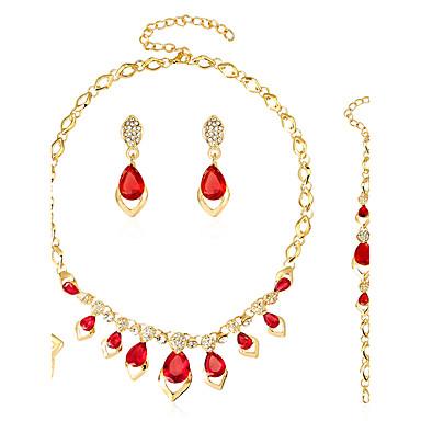 Mulheres Conjunto de jóias - Coração Fashion, Euramerican Incluir Brincos / pulseira Colar / anel Dourado Para Casamento Festa Ocasião Especial / Anéis