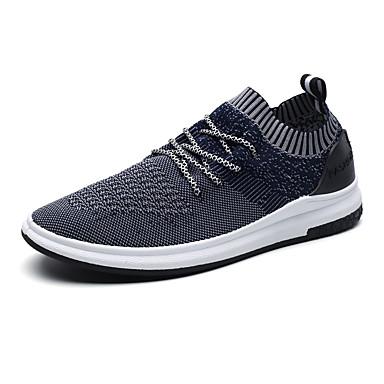 Herrn Schuhe Tüll Frühling Sommer Komfort Sportschuhe Walking Schnürsenkel für Sportlich Normal Draussen Schwarz Grau Blau