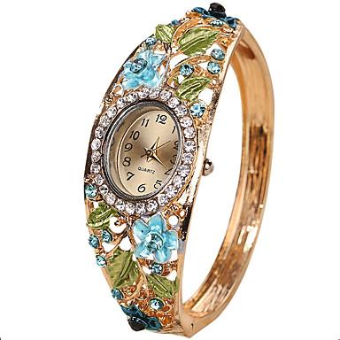 baratos Relógios Senhora-Mulheres senhoras Relógios Luxuosos Bracele Relógio Relógio de diamante Quartzo Criativo Relógio Casual Legal Analógico Vintage Casual Rígida Fashion - Roxo Amarelo Azul Um ano Ciclo de Vida da