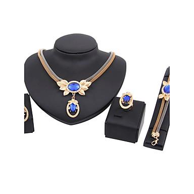 Mulheres Gema Conjunto de jóias Anéis 1 Colar 1 Par de Brincos 1 Bracelete - Clássico Euramerican Fashion Formato Coroa Conjunto de Jóias