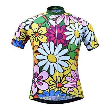 JESOCYCLING Mulheres Manga Curta Camisa para Ciclismo Floral / Botânico Moto Camisa / Roupas Para Esporte, Respirável Secagem Rápida Redutor de Suor 100% Poliéster / Com Stretch