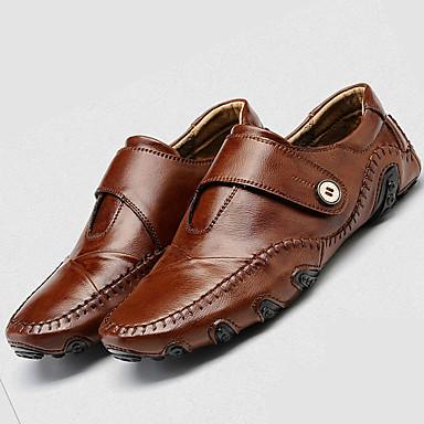 Homens Sapatos Confortáveis Couro Verão / Outono Casual Mocassins e Slip-Ons Preto / Marron