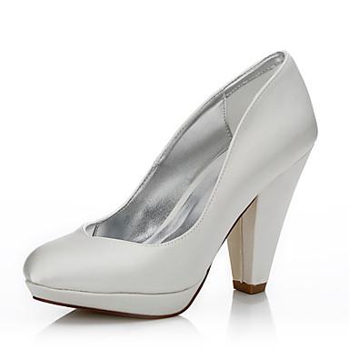للمرأة أحذية حرير خريف / شتاء مريح / أحذية Dyeable أحذية الزفاف كعب متوسط أمام الحذاء على شكل دائري / حذاء يغطي أصبع القدم كريستال / الحفلات و المساء