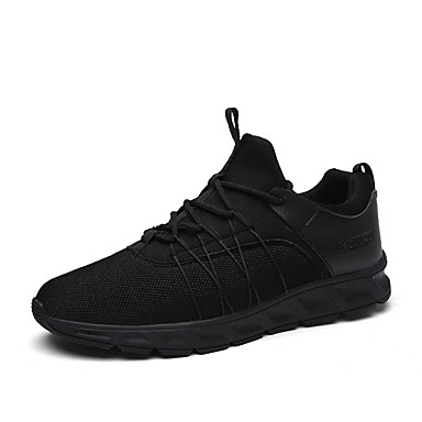 Men's Shoes PU Summer Fall Comfort Light Soles Sneakers Lace-up For Casual Black Black/White