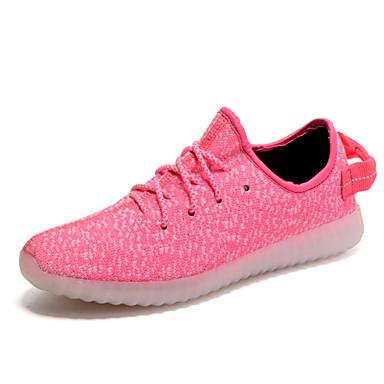 Mulheres Sapatos Tule Primavera Verão Solados com Luzes Tênis com LED par sapatos Tênis Caminhada Sem Salto Cadarço para Atlético Casual