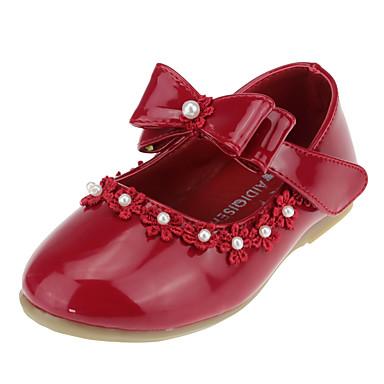 Para Meninas sapatos Courino Primavera Outono Sapatos para Daminhas de Honra Conforto Rasos Laço Pérolas Sintéticas Apliques Velcro para