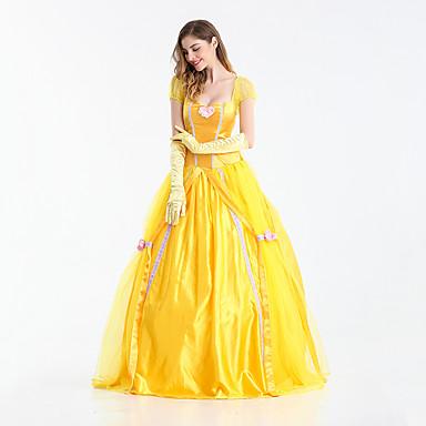 Prinsessa Sagolikt Belle Klänningar Dam Flickor Film-cosplay Prinsessa Gul Klänning Handskar Halloween Karnival Nyår Terylen