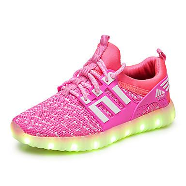 Para Meninos sapatos Tule Verão Outono Tênis com LED Gladiador Tênis para Casual Escritório e Carreira Ao ar livre Preto Fúcsia Verde