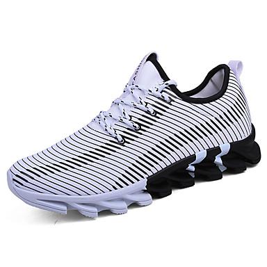 Homens sapatos Tule Primavera / Outono Conforto Tênis Caminhada Preto / Branco / Preto / Laranja e Preto