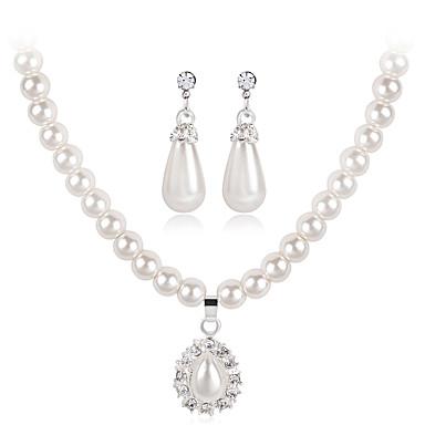 Mulheres Pérola Strass Caído Flor Conjunto de jóias 1 Colar 1 Par de Brincos - Euramerican Fashion Forma Geométrica Branco Conjunto de
