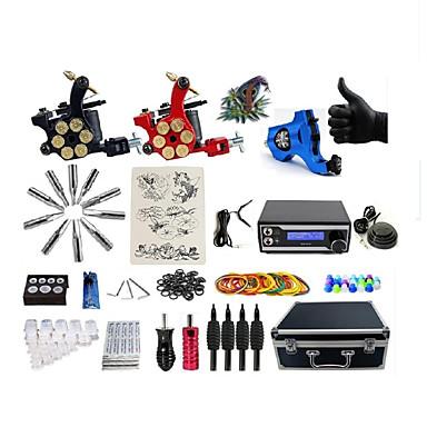 BaseKey Tätowiermaschine Professionelles Tattoo Kit - 3 pcs Tattoo-Maschinen LED-Stromversorgung Aufbewahrungshülle inklusive 1 x Drehtattoomaschine für Umrißlinien und Schattierung / 2 x-Legierung