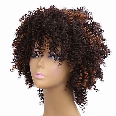 Perucas sintéticas Encaracolado / Afro Cabelo Sintético Cabelo com Luzes / Reflexos / Peruca Afro Americanas Marrom Peruca Mulheres Médio
