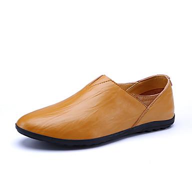 Homens sapatos Pele Primavera Verão Mocassim Conforto Mocassins e Slip-Ons para Festa Preto Amarelo Castanho Escuro