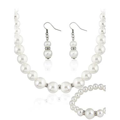 Mulheres Pérola Conjunto de jóias - Imitação de Pérola Básico Incluir Branco Para Casamento Festa Ocasião Especial / Brincos