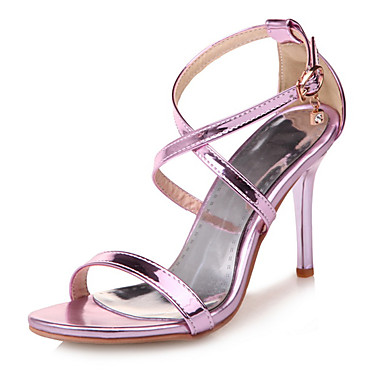 Mulheres Sapatos Courino Primavera / Verão Conforto Sandálias Salto Agulha Dedo Aberto Presilha Roxo / Prateado / Vermelho