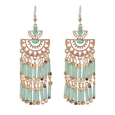 Mulheres Franjas / Lustres Brincos Compridos - Resina Borla, Boêmio, Fashion Vermelho / Azul / Verde Claro Para Casual