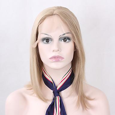 Syntetické čipky předních paruky Volný Střih Bob Umělé vlasy Bob uprostřed / Přírodní vlasová linie Blonďatá Paruka Dámské Krátký Se síťovanou přední částí