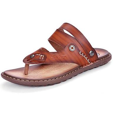 Miehet kengät Synteettinen mikrokuitu PU Kevät Comfort Sandaalit Käyttötarkoitus Kausaliteetti Sininen Tumman ruskea Khaki