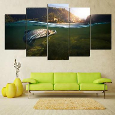 Laminado Impressão De Canvas Paisagem Pastoril, 5 Painéis Horizontal Estampado Decoração de Parede Decoração para casa