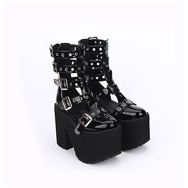 أحذية لوليتا مصنوع يدوي خمر مستوحاة كعب متوسط لون الصلبة جوفاء تدريجية لوليتا 13 cm CM أسود من أجل جلد البولي يوريثان كوستيوم هالوين
