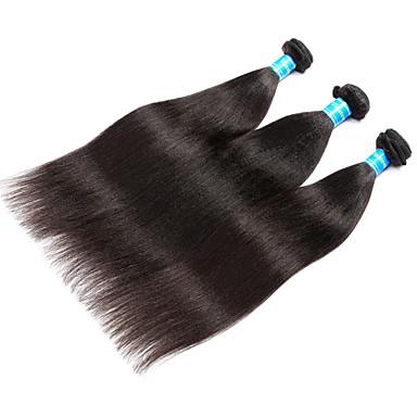 Echthaar Malaysisches Haar Menschenhaar spinnt Yaki-Stil Haarverlängerungen 3 Stück Schwarz