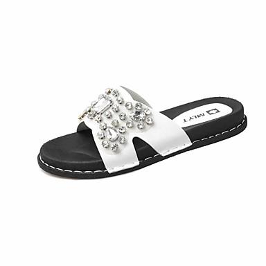 Dámské Boty PU Léto Creepers Sandály Chůze Rovná podrážka Kulatý palec Štras pro Ležérní Šaty Bílá Černá