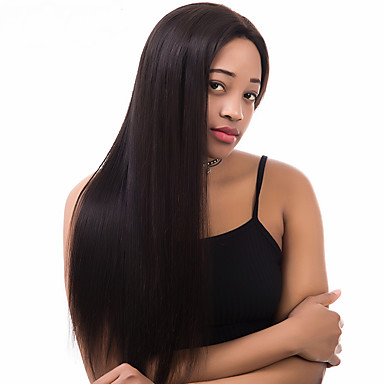 Naisten Aitohiusperuukit verkolla Remy Full Lace Liimaton kokoverkko 180% Tiheys 360° etuosa Peruukki Musta Keskikokoinen Pitkä