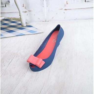 Damen Schuhe PU Sommer Fersenriemen Flache Schuhe für Normal Schwarz Rot Blau
