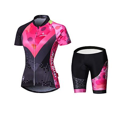 Malciklo Mulheres Manga Longa Camisa com Shorts para Ciclismo - Preto Geométrico / Formais Moto Camisa / Roupas Para Esporte / Meia-calça / Shorts Acolchoados Poliéster, Coolmax®, Lycra Geométrico