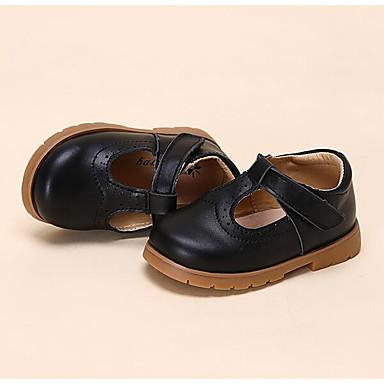 Mädchen Flache Schuhe Komfort Lauflern Frühling Herbst Leder Walking Normal Klettverschluss Niedriger Absatz Weiß Schwarz Farbbildschirm