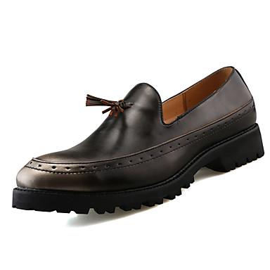 Homens sapatos Couro Primavera Outono Mocassins e Slip-Ons Caminhada Mocassim para Preto Prata