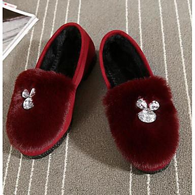 Naiset Kengät Fleece Kevät Comfort Mokkasiinit Käyttötarkoitus Kausaliteetti Musta Purppura Punainen