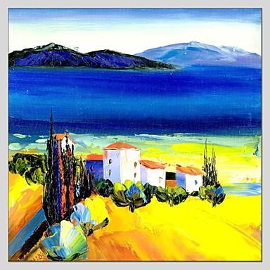 Maalattu MaisemaAbstrakti 1 paneeli Kanvas Hang-Painted öljymaalaus For Kodinsisustus