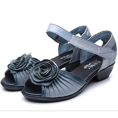 Naiset Sandaalit Comfort PU Kevät Kausaliteetti Comfort Musta Harmaa Tasapohja