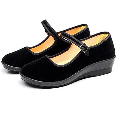 Naiset Kengät Mokkanahka Kevät Comfort Tasapohjakengät Käyttötarkoitus Kausaliteetti Musta