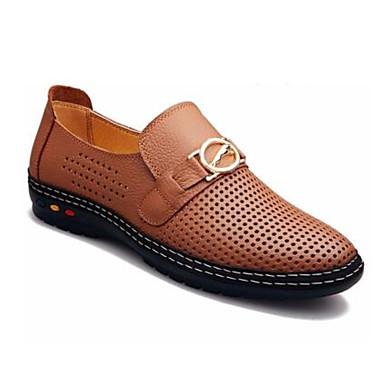 Pánské Boty Nappa Leather Kůže Jaro Pohodlné Oxfordské Pro Ležérní Černá Žlutá Tmavěhnědá