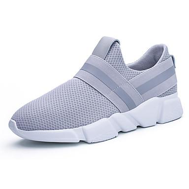 Homens sapatos Couro Ecológico Primavera Outono Conforto Tênis para Casual Preto Cinzento Azul