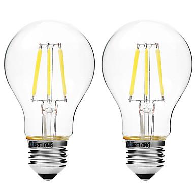 BRELONG® 2pcs 4W 450lm E27 Lâmpadas de Filamento de LED A60(A19) 6 Contas LED COB Regulável Branco Quente Branco 200-240V