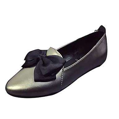 Damen Flache Schuhe Frühling Herbst PU Walking Flacher Absatz Schwarz Dunkelgrau Unter 2,5 cm