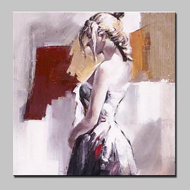 Hang-Painted öljymaalaus Maalattu - Ihmiset Abstrakti Moderni / nykyaikainen Kangas