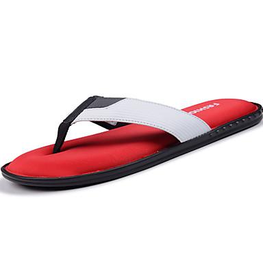 Herrn Schuhe Kunstleder Sommer Slippers & Flip-Flops Walking Rot / Weiß / Schwarz / Rot / Weiß und Grün