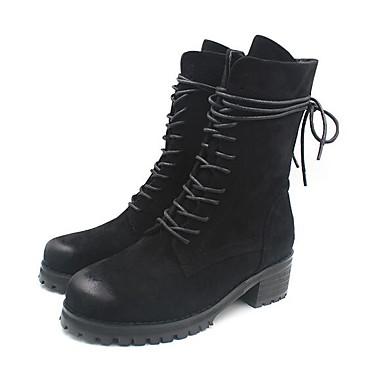 Naiset Bootsit Nahka Kevät Musta Tasapohja