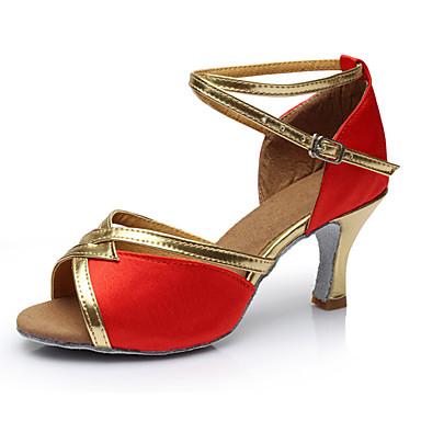 Mulheres Latina Cetim Sandália Interior Salto Personalizado Vermelho Personalizável