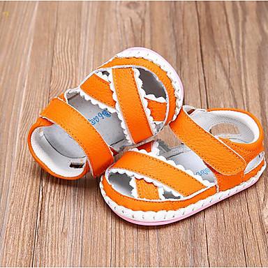 Děti Bez podpatku První botičky Jaro Podzim Kůže Chůze Ležérní Kouzelná páska Nízký podpatek Oranžová Červená Modrá Plochý