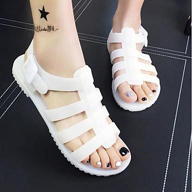 Naiset Sandaalit PVC Kevät Valkoinen Musta Tasapohja