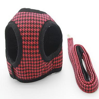 Gato / Cachorro Arreios / Trelas Ajustável Xadrez / Formais Tecido Preto / Vermelho