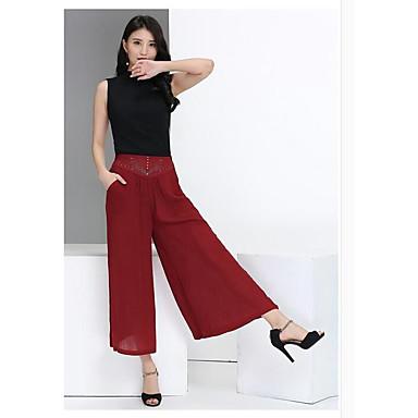 Ženy Jednoduchý Není elastické Široké nohavice Kalhoty Volný Mid Rise Čistá barva Jednobarevné