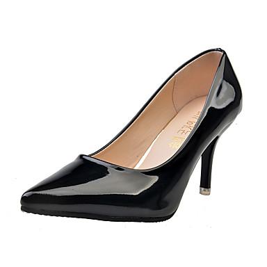 Damen Schuhe PU Frühling High Heels Niedriger Heel Spitze Zehe Strass für Normal Weiß Schwarz Rot