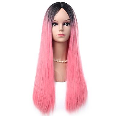 Ženy Dlouhý Růžová Rovné Umělé vlasy Bez krytky Přírodní paruka paruky